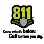 811 Know what's below, call before you dig logo